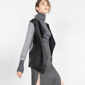 Zara Faux Leather Front Open Cardigan Jacket